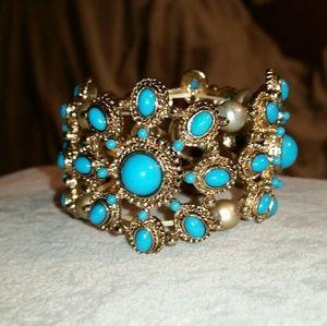 Jewelry - Gold & Faux Turquoise Stretch Bracelet
